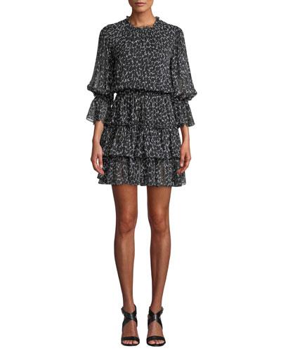Cheetah-Print Silk Chiffon Tiered Dance Dress