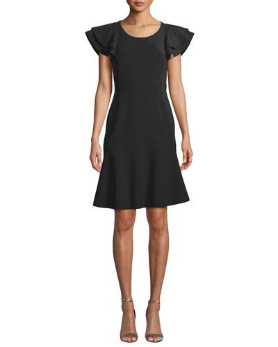 Flutter-Sleeve Scoop-Neck Stretch-Wool Crepe Dress