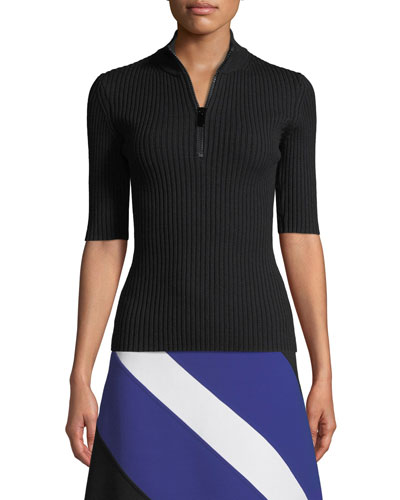 Mock-Neck Zip-Front Elbow-Sleeve Ribbed Merino Pullover