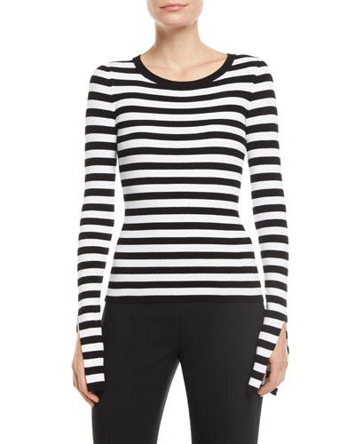 Slit-Sleeve Crewneck Striped Stretch-Viscose Sweater