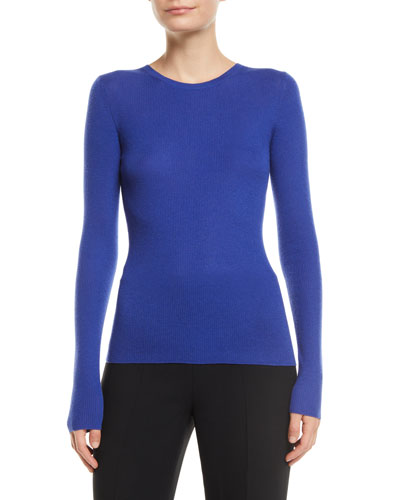 Crewneck Long-Sleeve Featherweight Cashmere Sweater