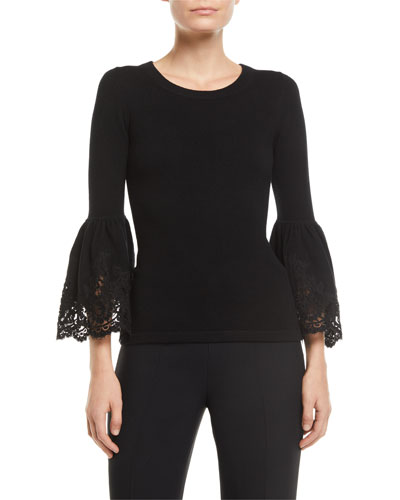 Lace Bell-Sleeve Cashmere Pullover Sweater