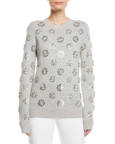 Floral-Embellished Crewneck Cashmere Pullover
