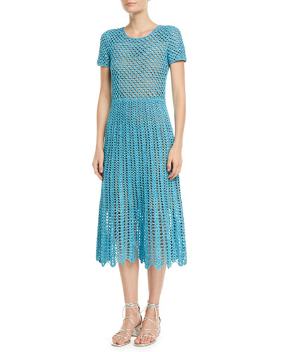 Short-Sleeve Crewneck Crochet A-Line Midi Dress
