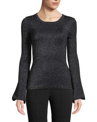 Crewneck Peasant-Sleeve Metallic-Knit Sweater