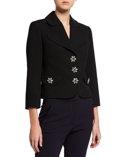 Jewel-Buttons Cropped Wool Crepe Broadcloth Jacket