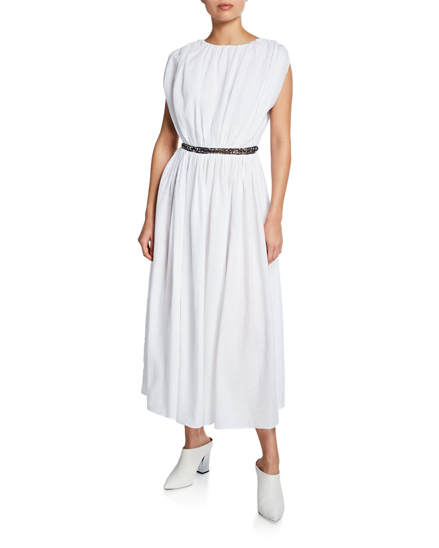 Gabriela Hearst Dresses CRISTINA V-NECK SLEEVELESS LINEN ANKLE-LENGTH DRESS W/ CHAIN INSETS