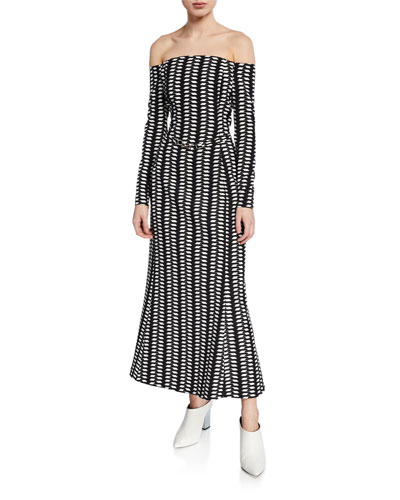 Magdavena Off-the-Shoulder Silk-Wool Dress