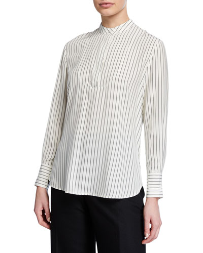 Striped Satin Long-Sleeve Split Back Blouse