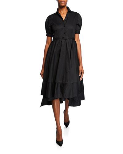 Flared Short-Sleeve Sateen Cotton Dress