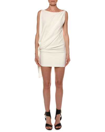 Open-Side Blouson Viscose Cady Mini Cocktail Dress