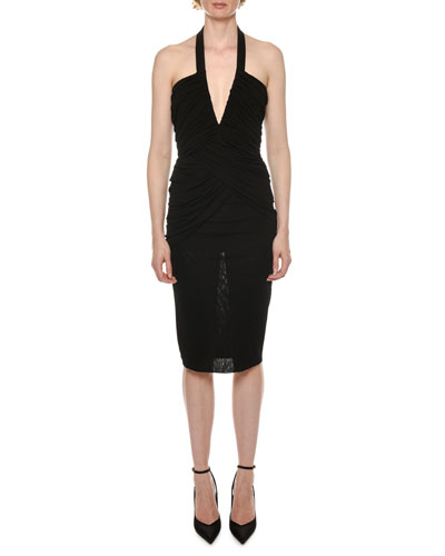 Halter Deep-V Ruched Jersey Midi Dress