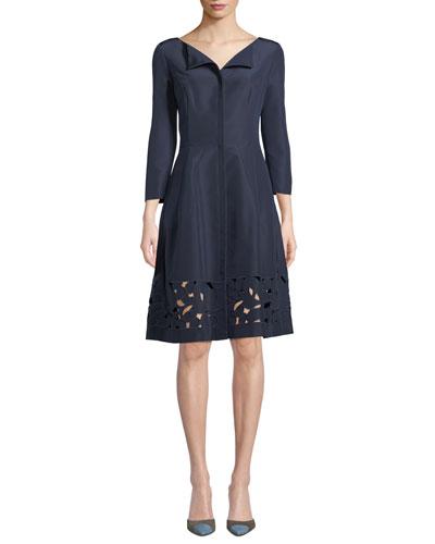 3/4-Sleeve Eyelet-Hem Silk-Faille Dress