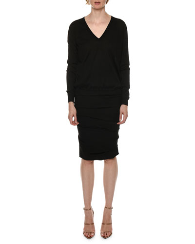 Long-Sleeve V-Neck Cashmere-Silk Top