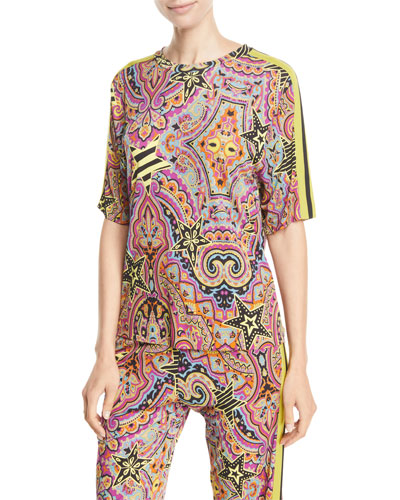 Short-Sleeve Printed Jersey Athleisure Top