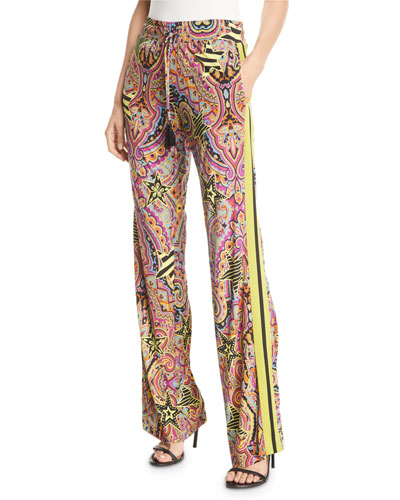Racing-Striped Printed Jersey Pants