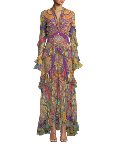 Ruffled Deco-Geometry Print Chiffon Maxi Dress