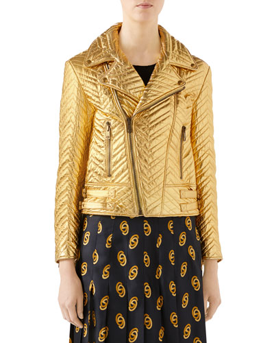 Quilted Metallic Soft-Leather Biker Jacket