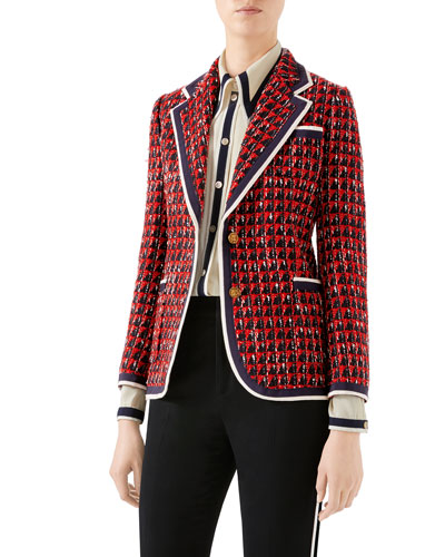 Geometric Tweed Blazer Jacket