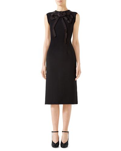 Sleeveless Bow-Neck Cady Crepe Dress