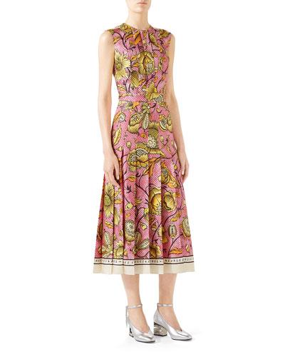 Sleeveless Watercolor-Floral Silk Midi Dress