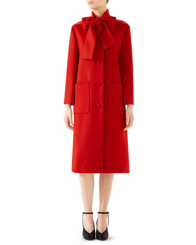 Single-Breasted Bow-Neck Wool Coat