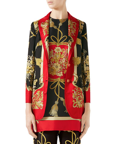 Intrigue Place Floral and Tassel Jacquard Twill Blazer