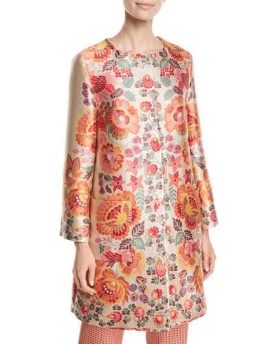 3/4-Sleeve Floral-Deco Jacquard Coat