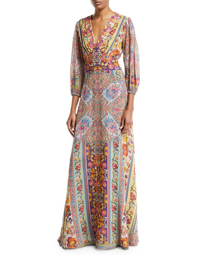 3/4-Sleeve Floral-Print Beaded Bodice Gown