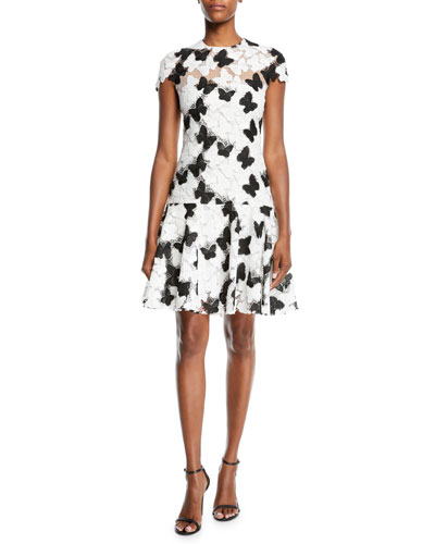 Butterfly Lace Guipure Cap-Sleeve A-Line Cocktail Dress