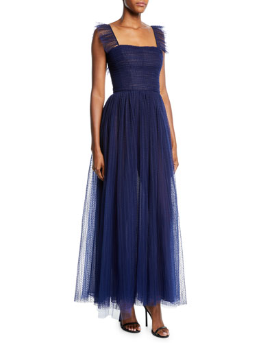 Square-Neck Tea-Length Gathered-Tulle Dress