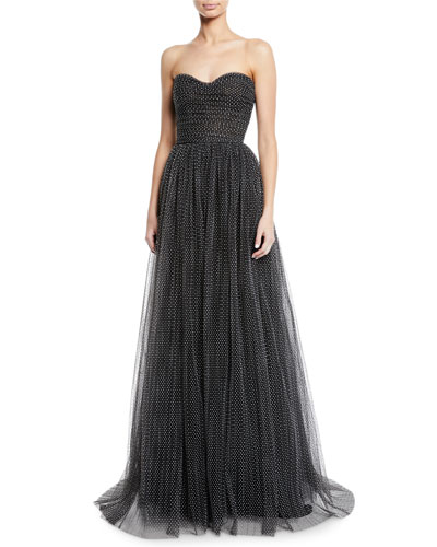 Strapless Sweetheart Polka Dot Flocked-Tulle Gown