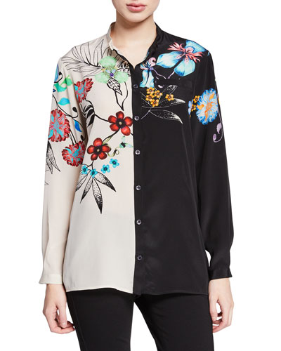 64fca345cf12f4 Two-Tone Tropical-Floral Button Front Silk Blouse