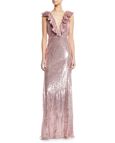 Ruffle V-Neck Sleeveless Sequin Column Evening Gown