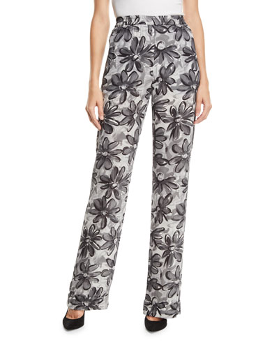 Daisy-Print Crushed Georgette Pajama Pants