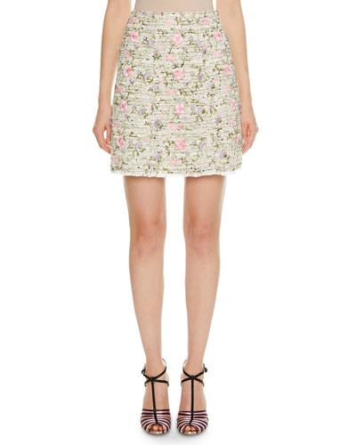 3D Floral-Embroidered Tweed Skirt