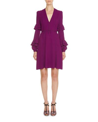 Double-Tiered Ruffle-Sleeve Crepe Dress