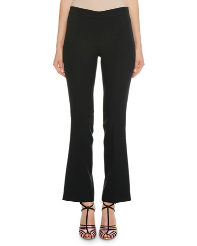 Flared Crepe Cropped Pant