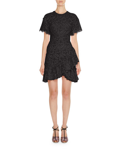 Gathered Floral Lace Tiered Mini Dress