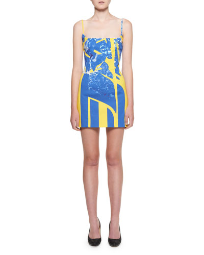 a393e0bf5e Square-Neck Graffiti-Denim Mini Dress
