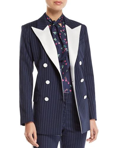 Casablanca Pinstriped Contrast Peak-Lapel Tux Jacket
