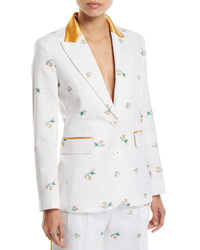 George Floral Satin-Collar Slim Blazer