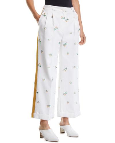 Agadir High-Waist Floral Print Wide-Leg Pants