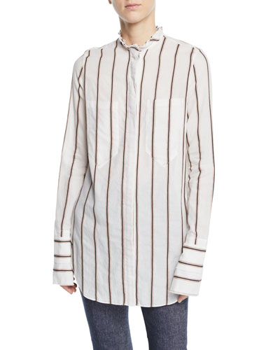 Stand-Collar Extended-Cuff Button-Front Blouse