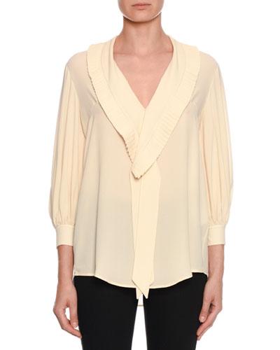 Pleated Tie-Neck Silk Blouse