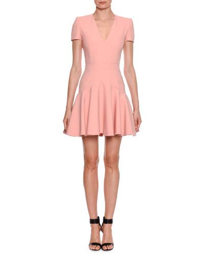 V-Neck Fluted-Skirt Mini Dress