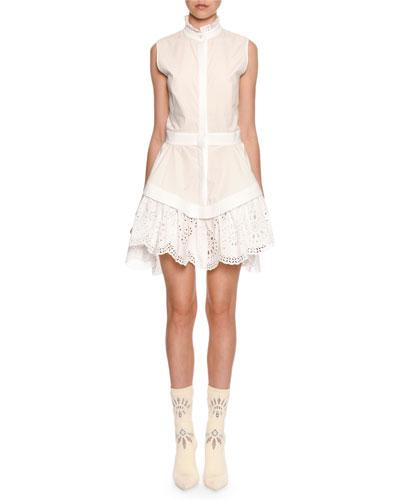 Sleeveless Lace-Trim Poplin Shirtdress