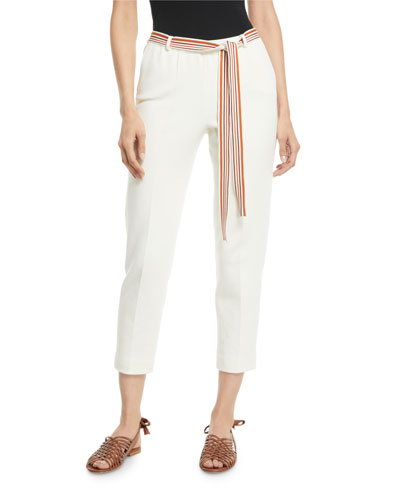 Palm-Beach Ribbon -Belted Pants