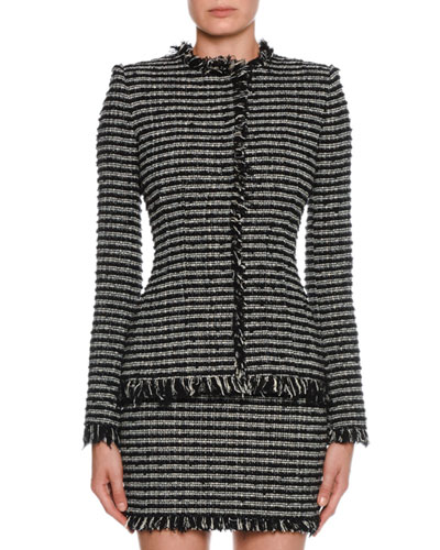 Tweed Striped Crewneck Jacket