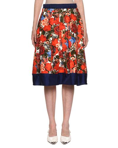 Floral-Print Pleated Poplin Skirt